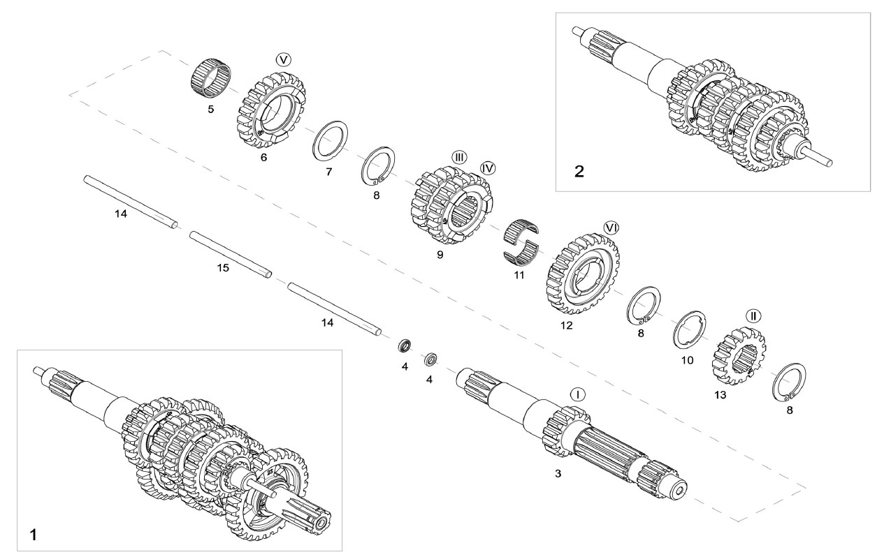 Modena KK2 Getriebe Antriebswelle