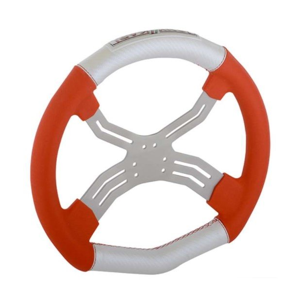 Lenkrad Tony Kart Neon Rot/Weiß 6 Loch/4 Speichen